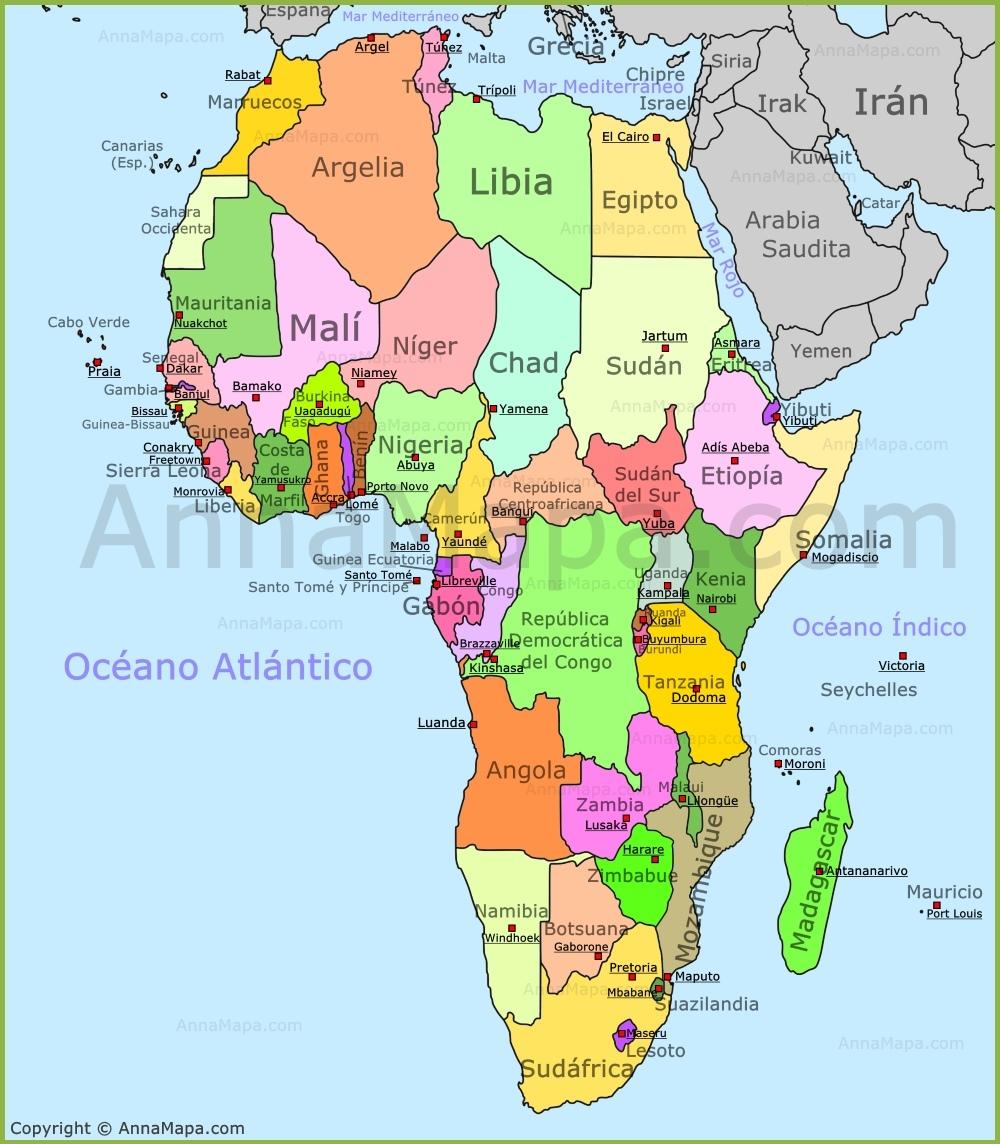 mapa áfrica países Mapa de África   Mapa Politico de Africa   Países de África  mapa áfrica países