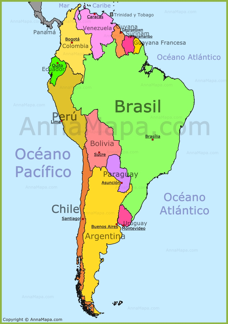 Mapa de America del Sur - AnnaMapa.com