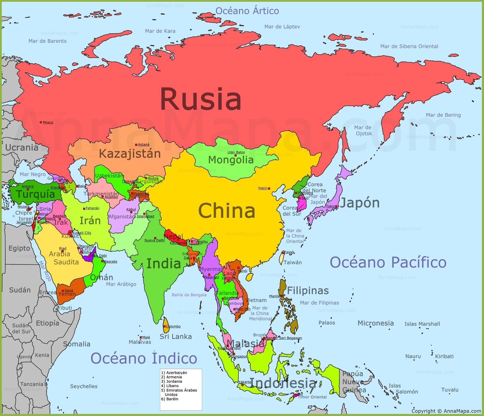 mapa de ásia Mapa de Asia | Mapa Politico de Asia | Países de Asia   AnnaMapa.com mapa de ásia