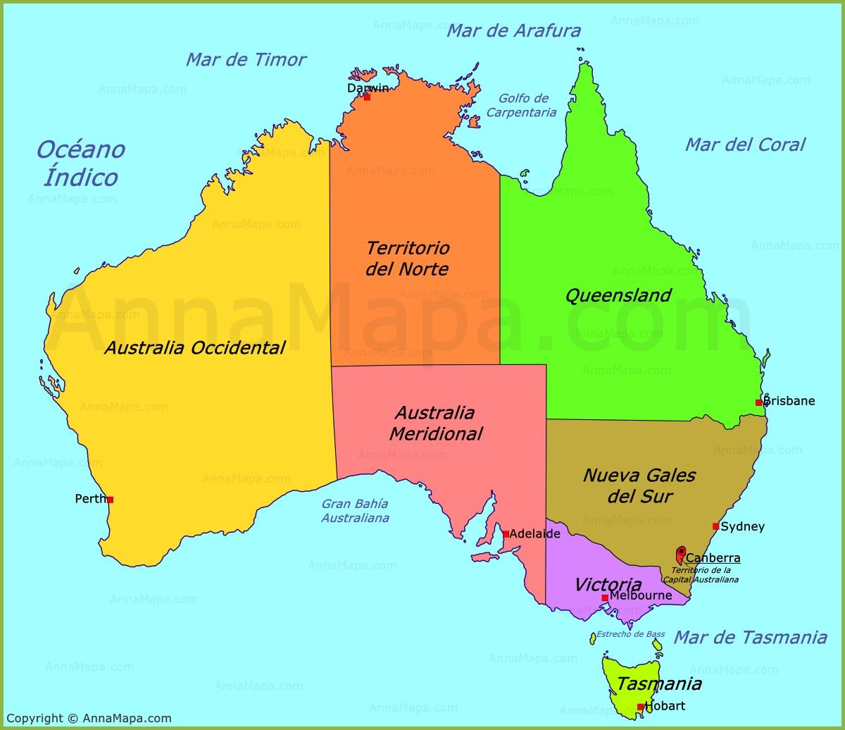 Mapa De Politico De Australia Annamapa Com