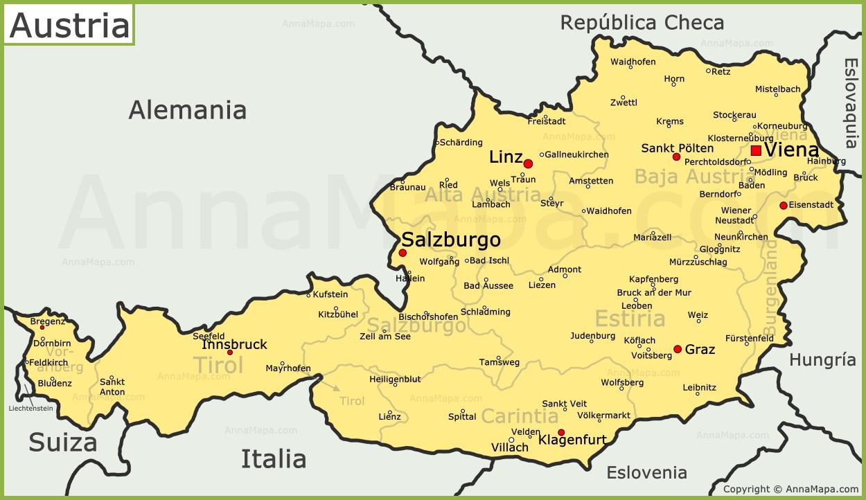 austria mapa Mapa de Austria | Plano Austria   AnnaMapa.com austria mapa