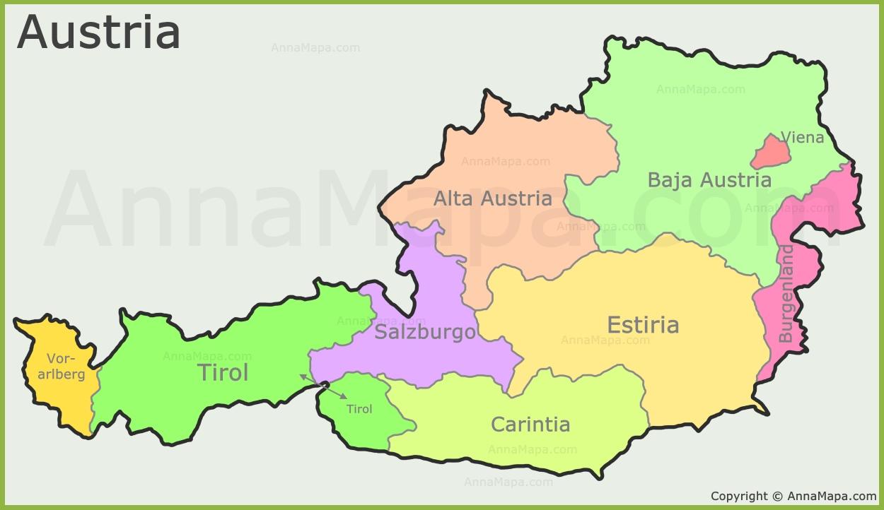 Mapa Politico De Austria.Mapa De Las Tierras Federales De Austria Annamapa Com