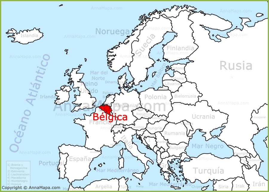 Blgica en el mapa de Europa  AnnaMapacom