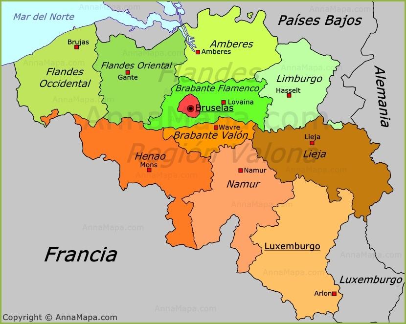 mapa de poltico de blgica