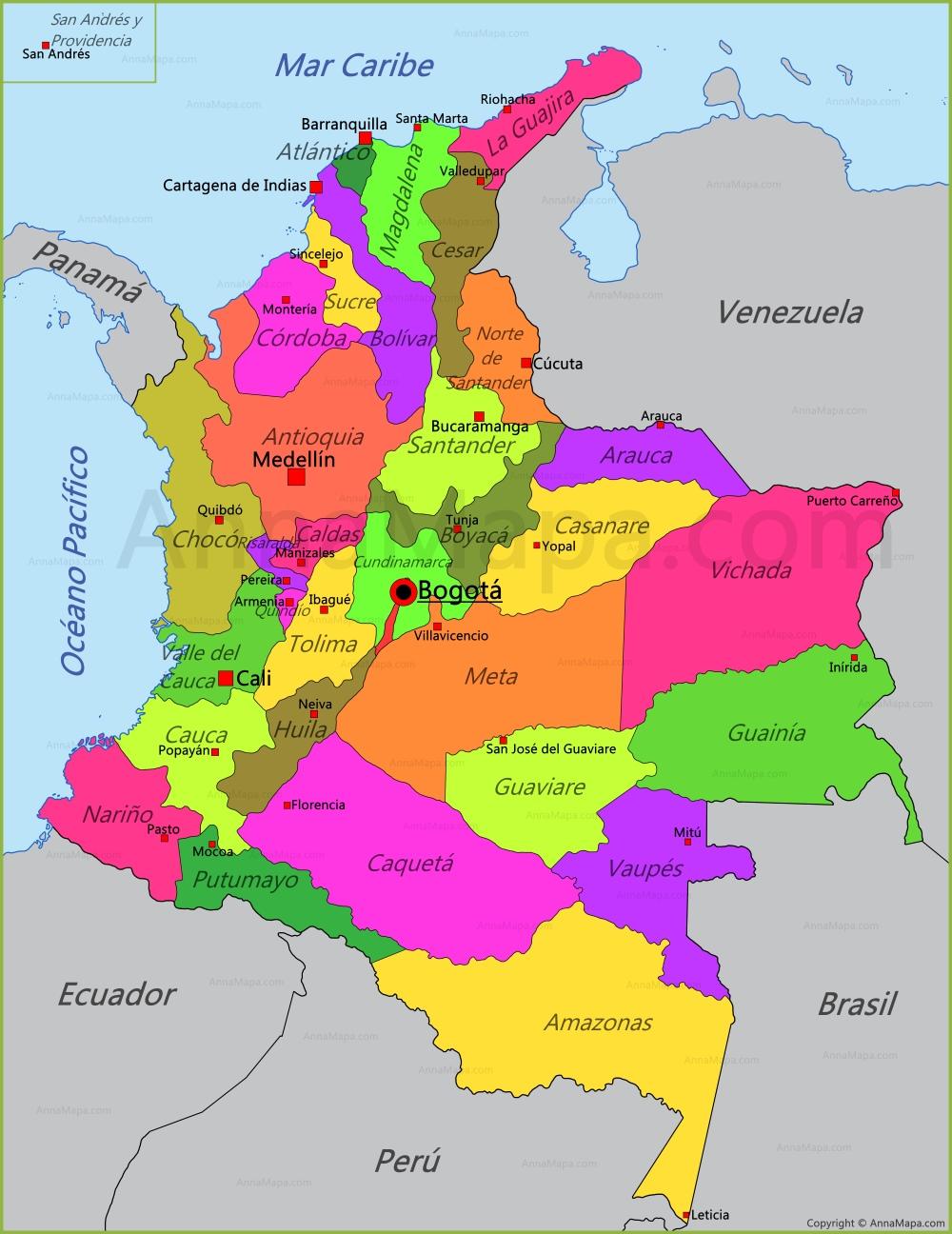 mapa de Mapa de Colombia   AnnaMapa.com mapa de