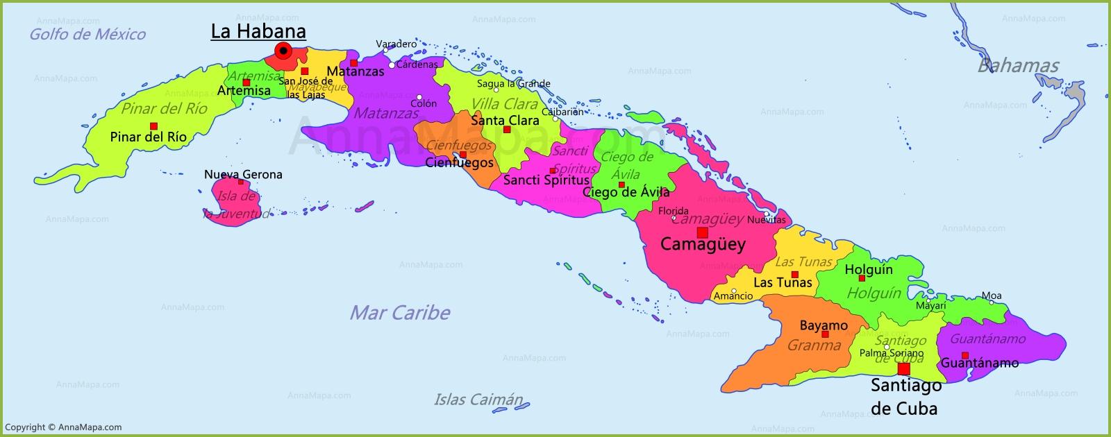 Mapa de Cuba  AnnaMapacom