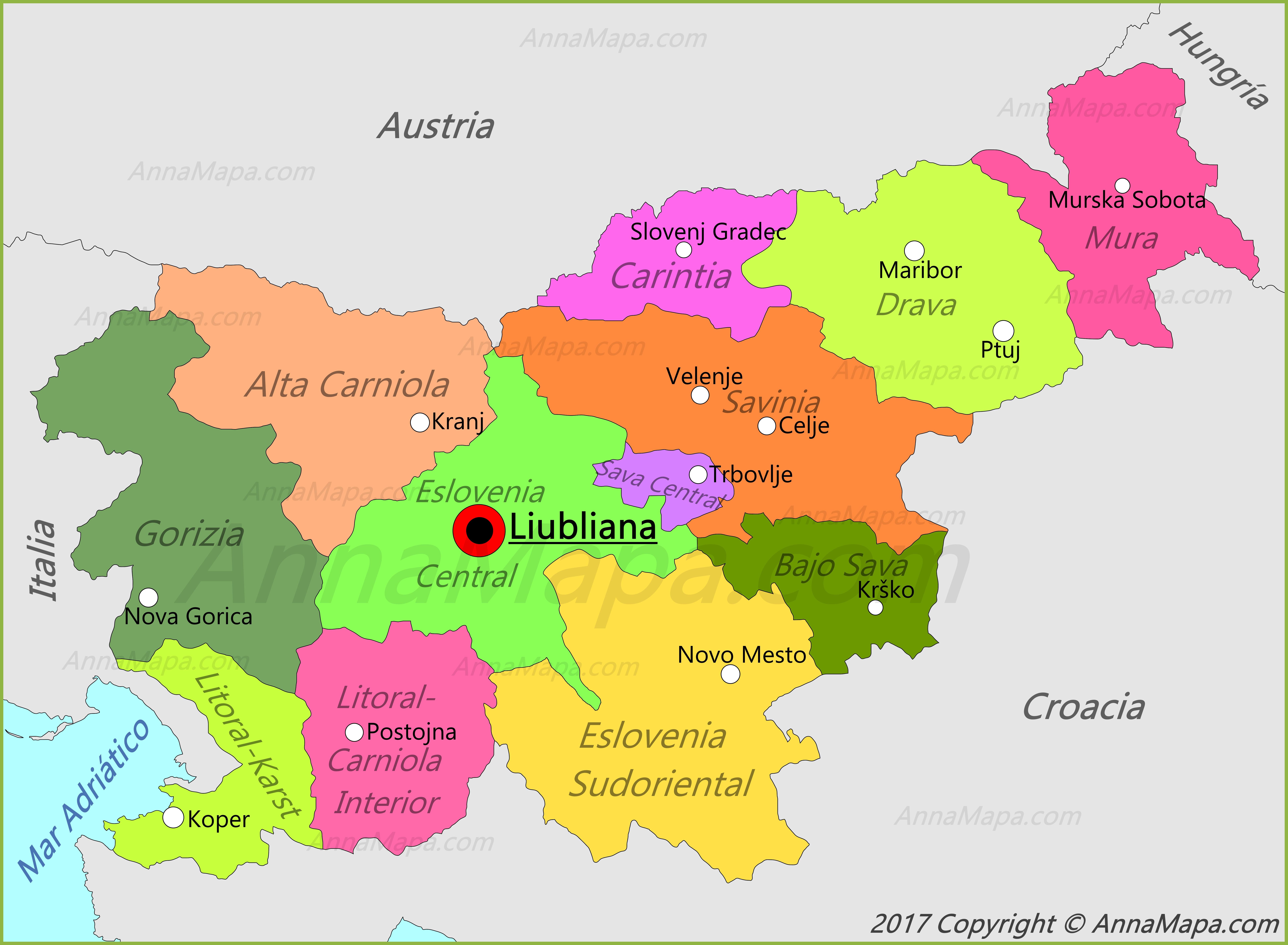 eslovenia mapa Mapa de Eslovenia   AnnaMapa.com eslovenia mapa