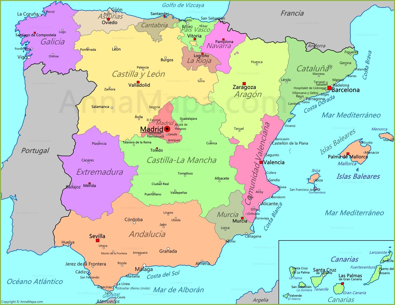 Mapa De España Burgos.Mapa De Espana Annamapa Com