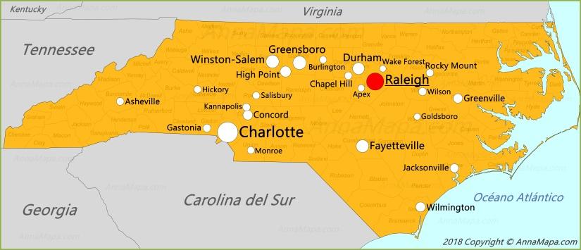 Carolina Del Norte Mapa.Mapa De Carolina Del Norte Estados Unidos Annamapa Com