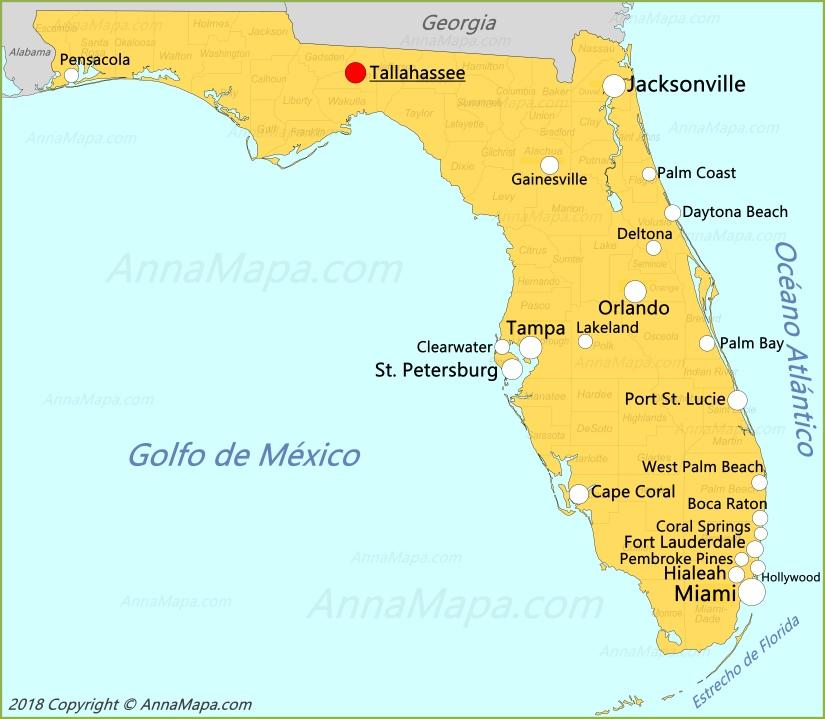 mapa florida estados unidos Mapa de Florida | Estados Unidos   AnnaMapa.com mapa florida estados unidos