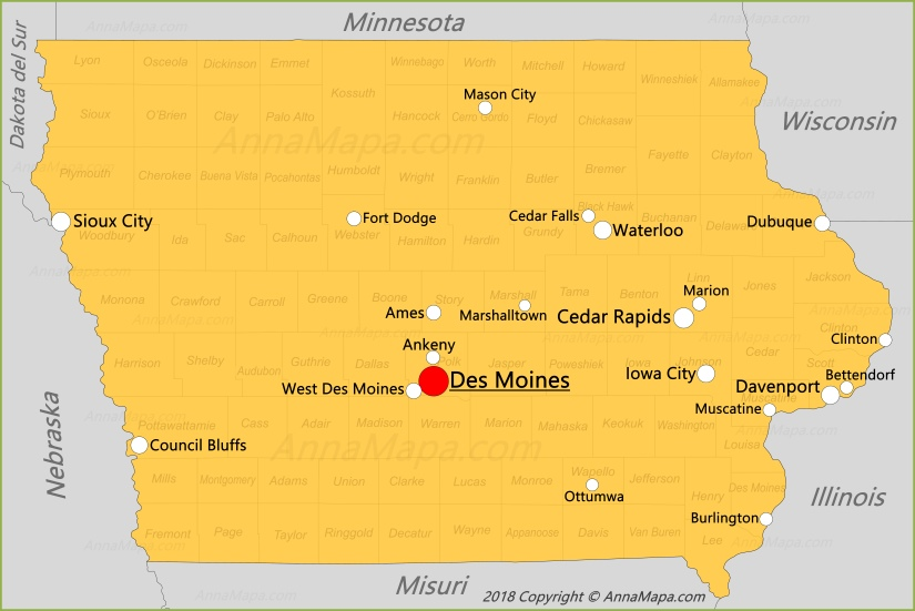 Mapa de Iowa   Estados Unidos - AnnaMapa.com