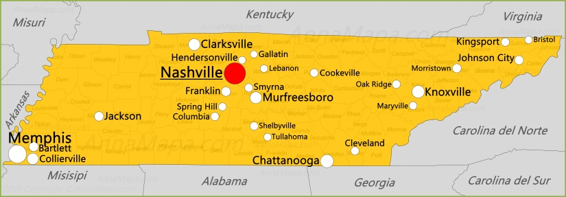 Mapa de Tennessee | Estados Unidos - AnnaMapa.com