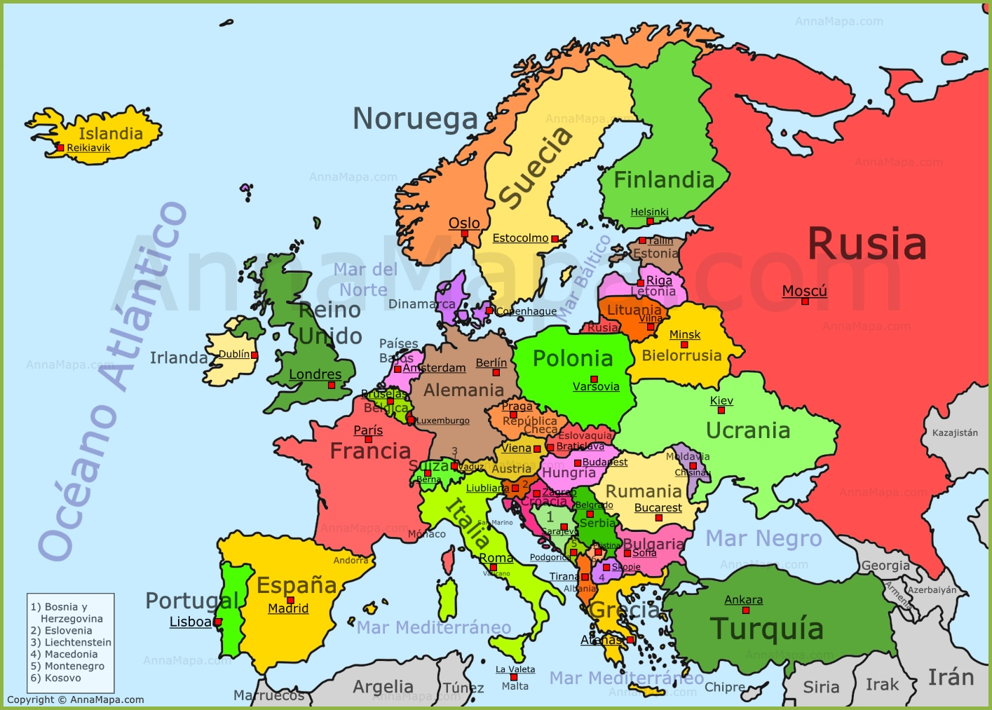 Mapa de Europa  Mapa Politico de Europa  Pases de Europa