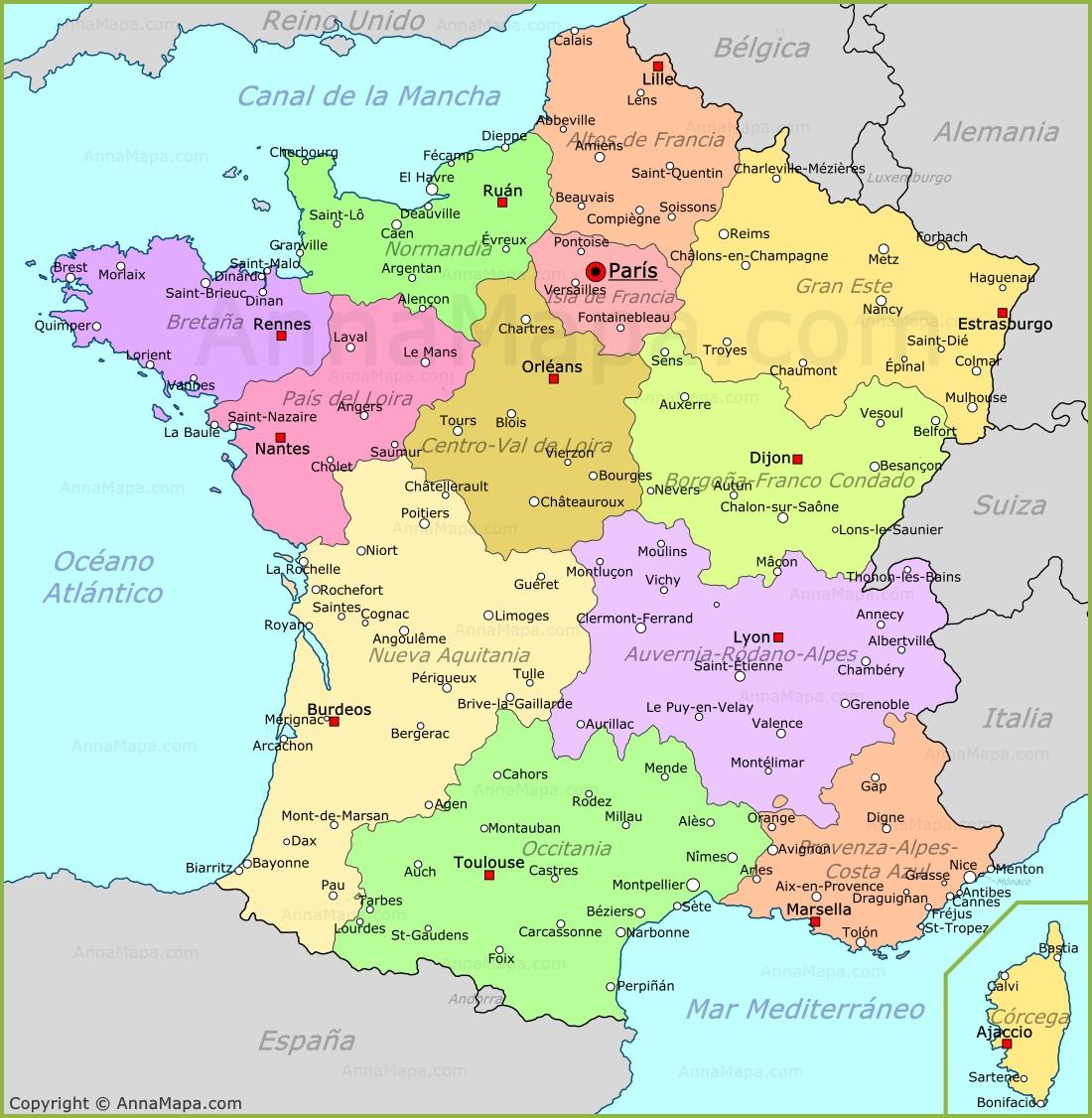 Mapa De Francia Plano Francia Annamapa Com