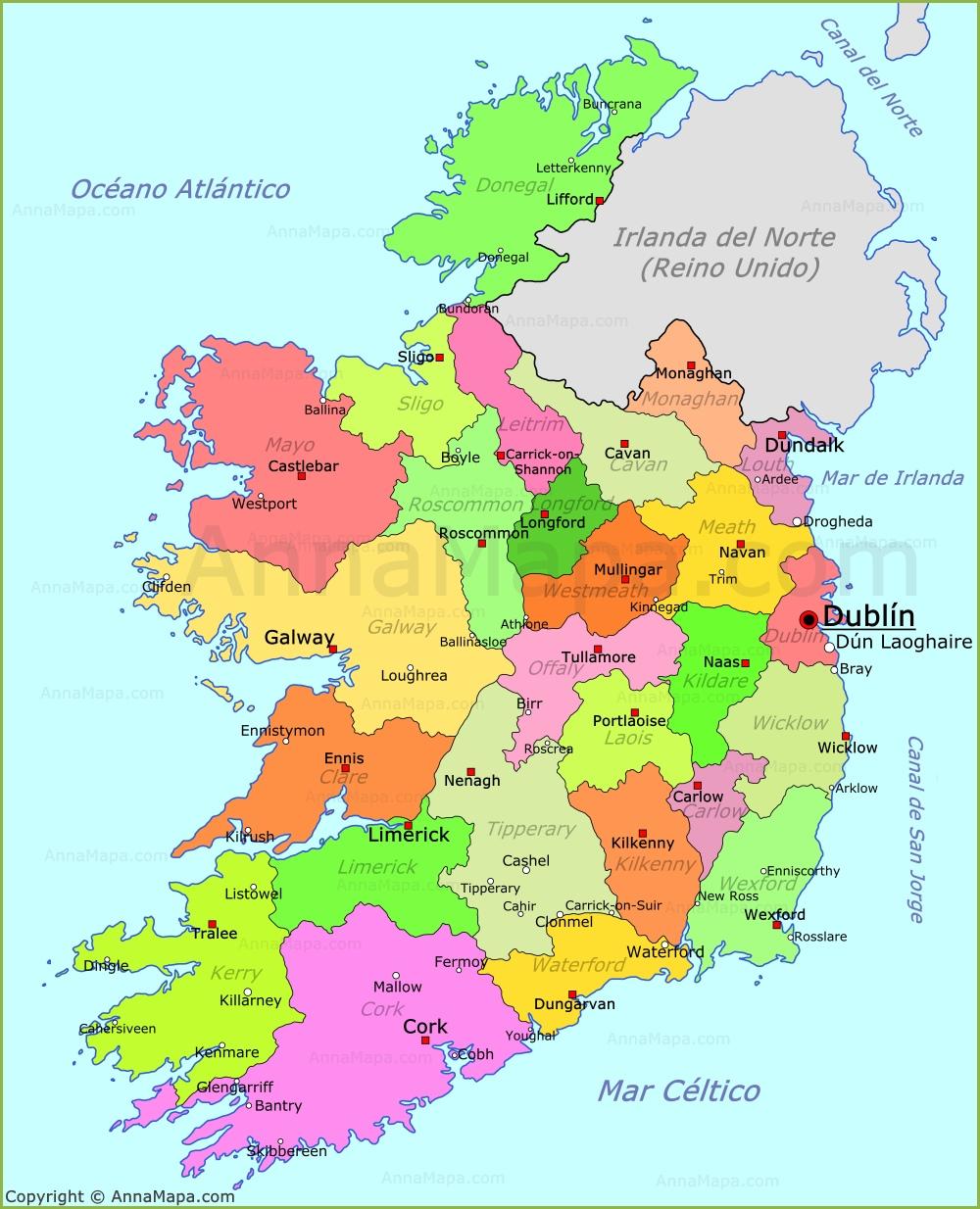 irlanda mapa Mapa de Irlanda   Plano Irlanda   AnnaMapa.com irlanda mapa