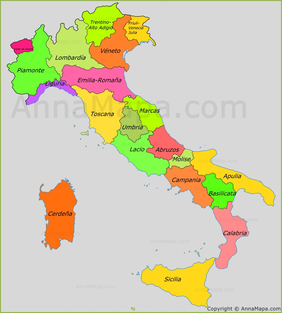 Mapa de las regiones de Italia  AnnaMapacom