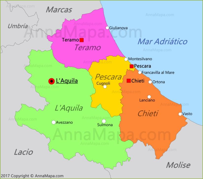 Mapa de Abruzos