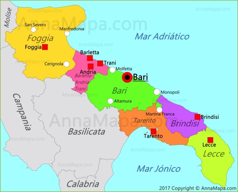 Mapa De Bari Italia.Mapa De Apulia Italia Annamapa Com