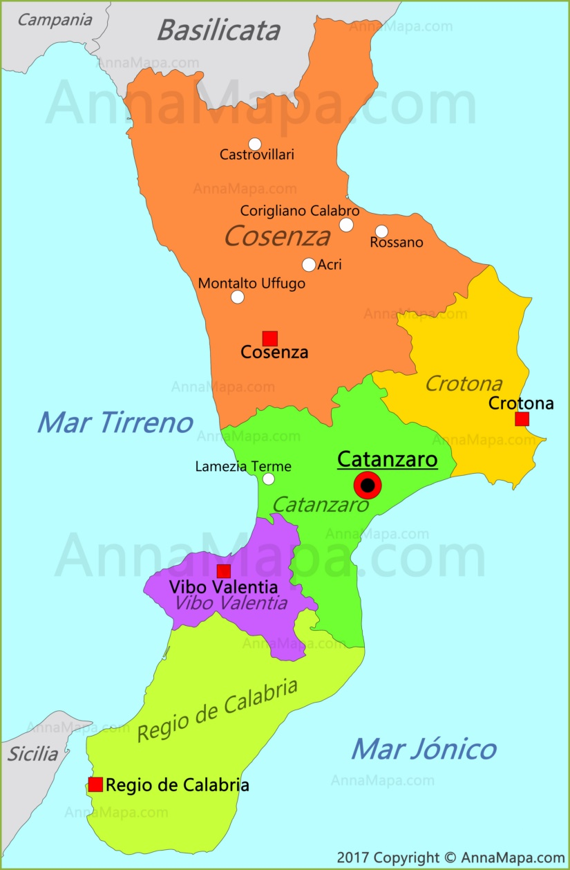 Mapa de Calabria