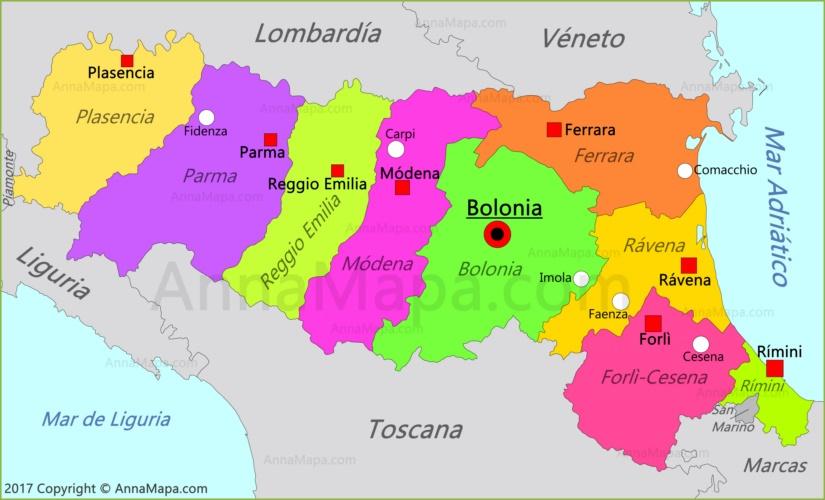 Mapa de Emilia-Romaña