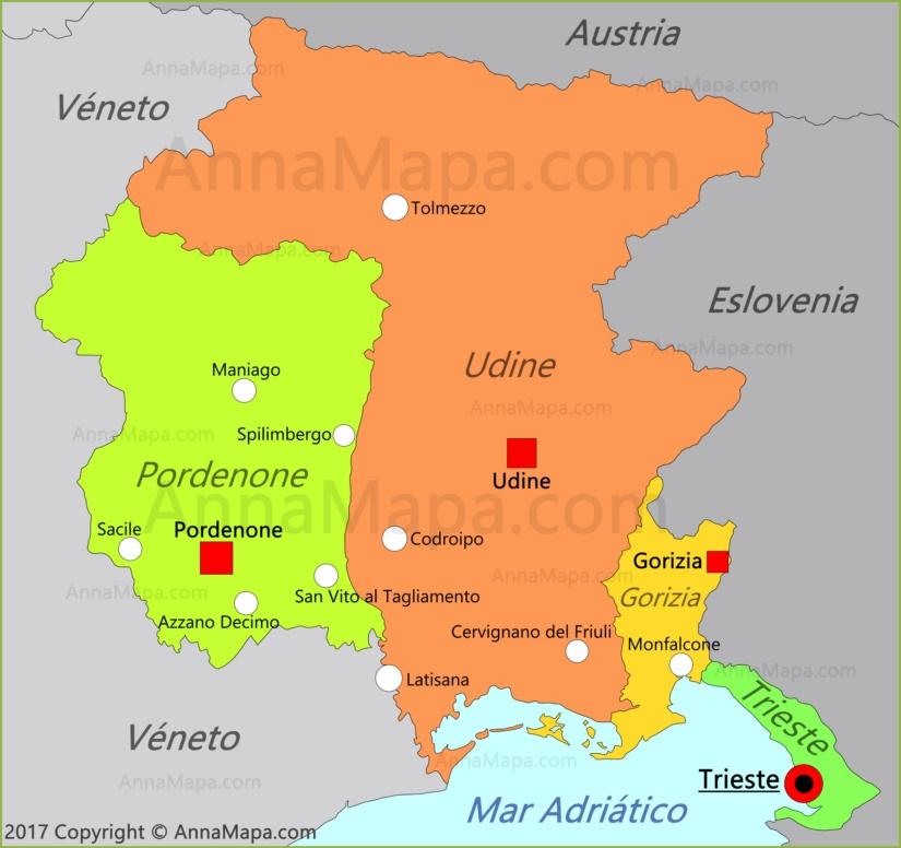 Mapa de Friuli-Venecia Julia
