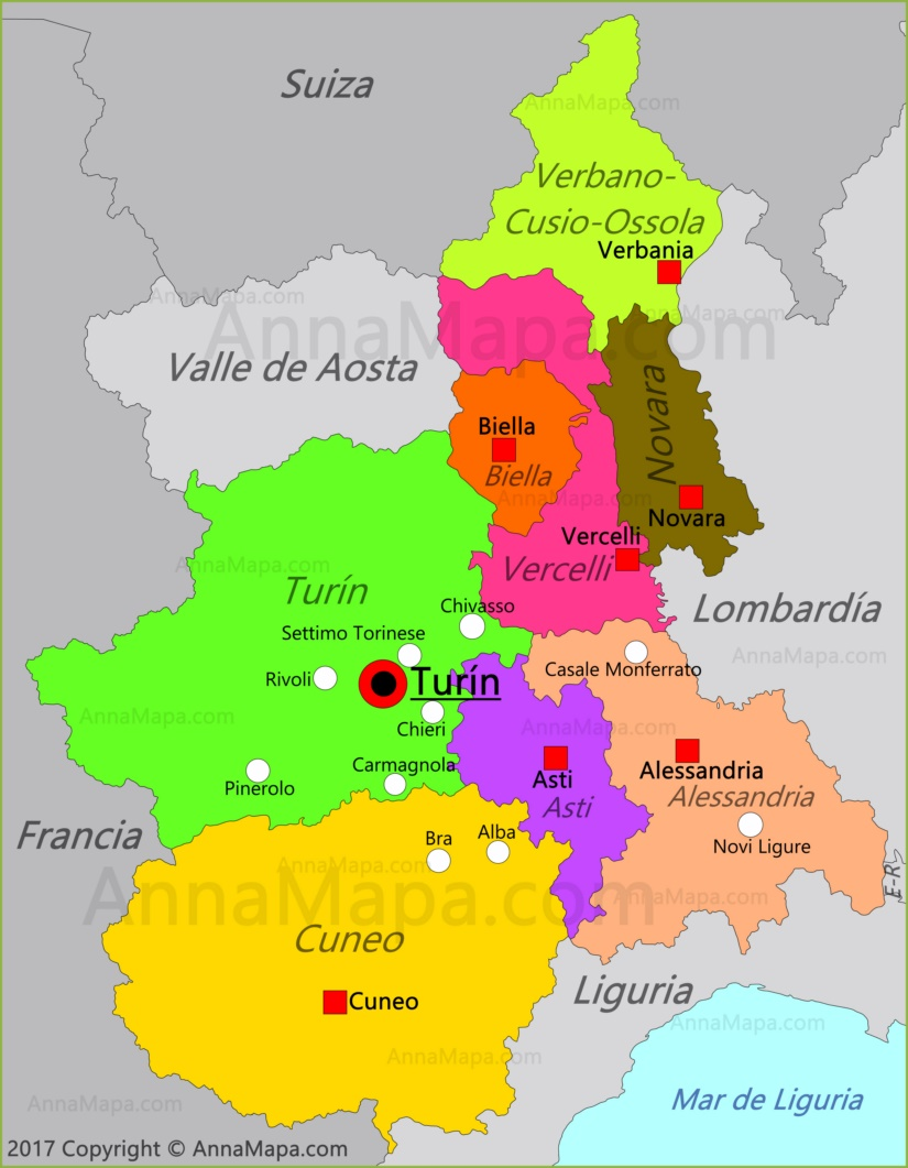 Mapa del Piamonte
