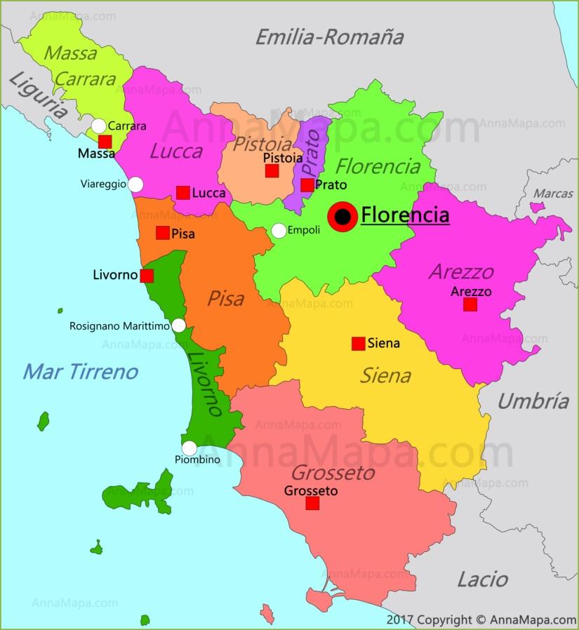 Mapa de Toscana