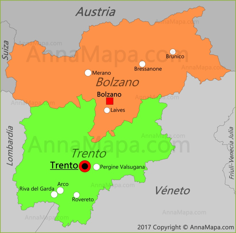 Mapa del Trentino-Alto Adigio