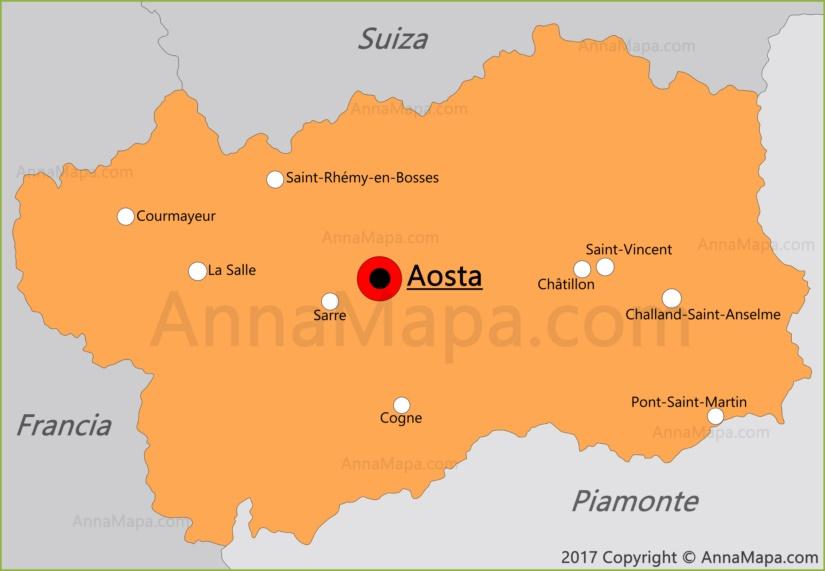Mapa del Valle de Aosta