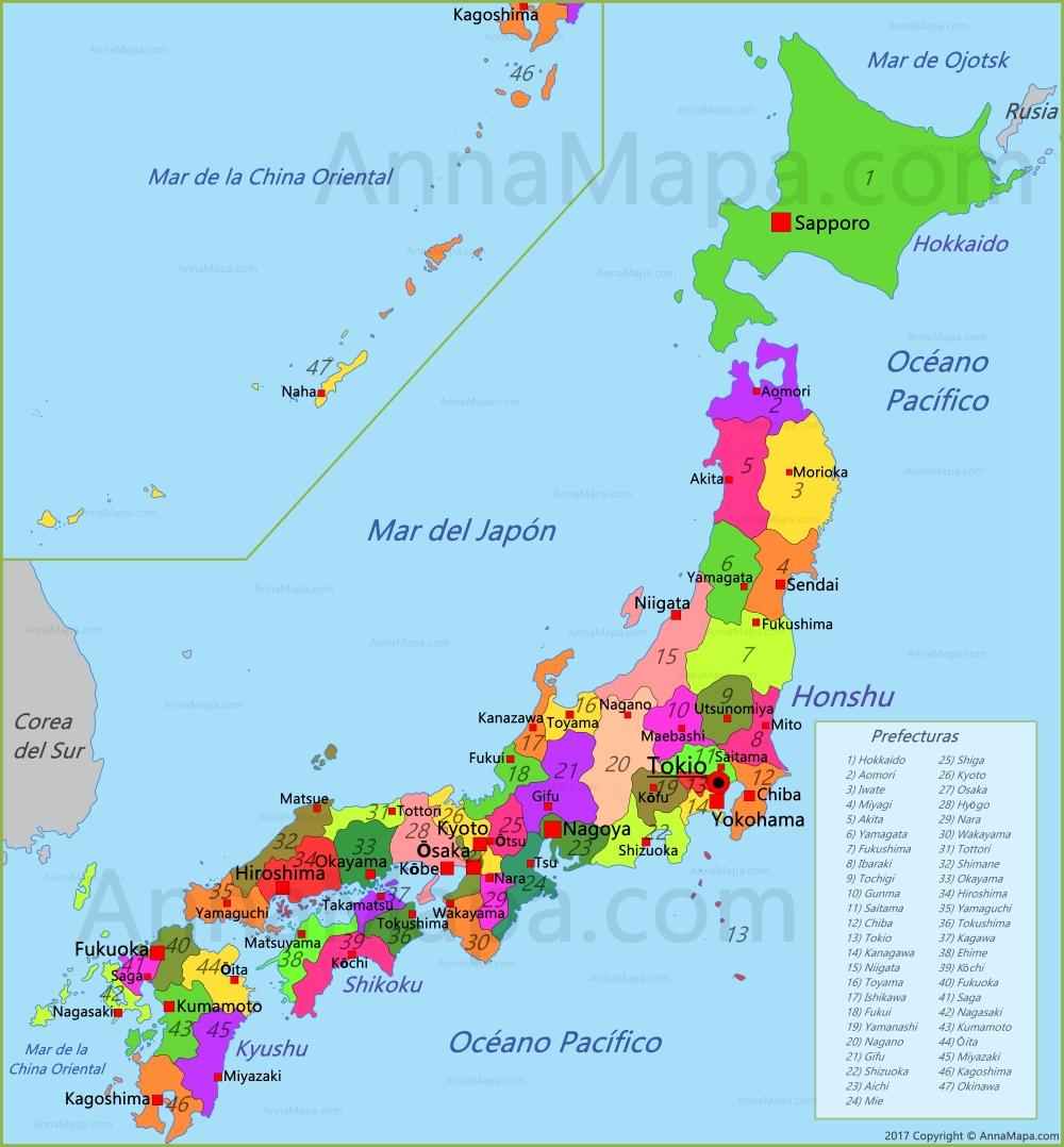 Mapa De Japon Ciudades.Mapa De Japon Annamapa Com
