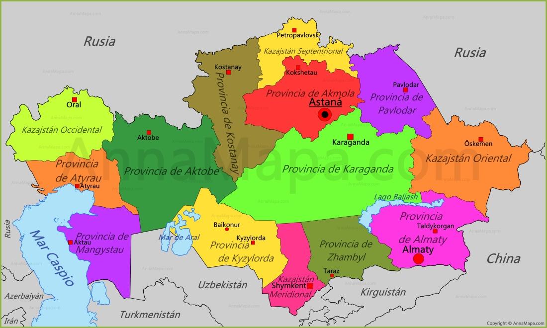 Resultado de imagen de mapa kazajistan