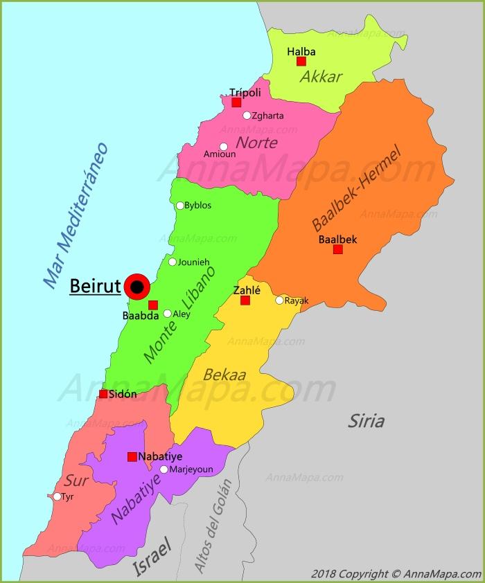 libano mapa Mapa de Libano   AnnaMapa.com libano mapa
