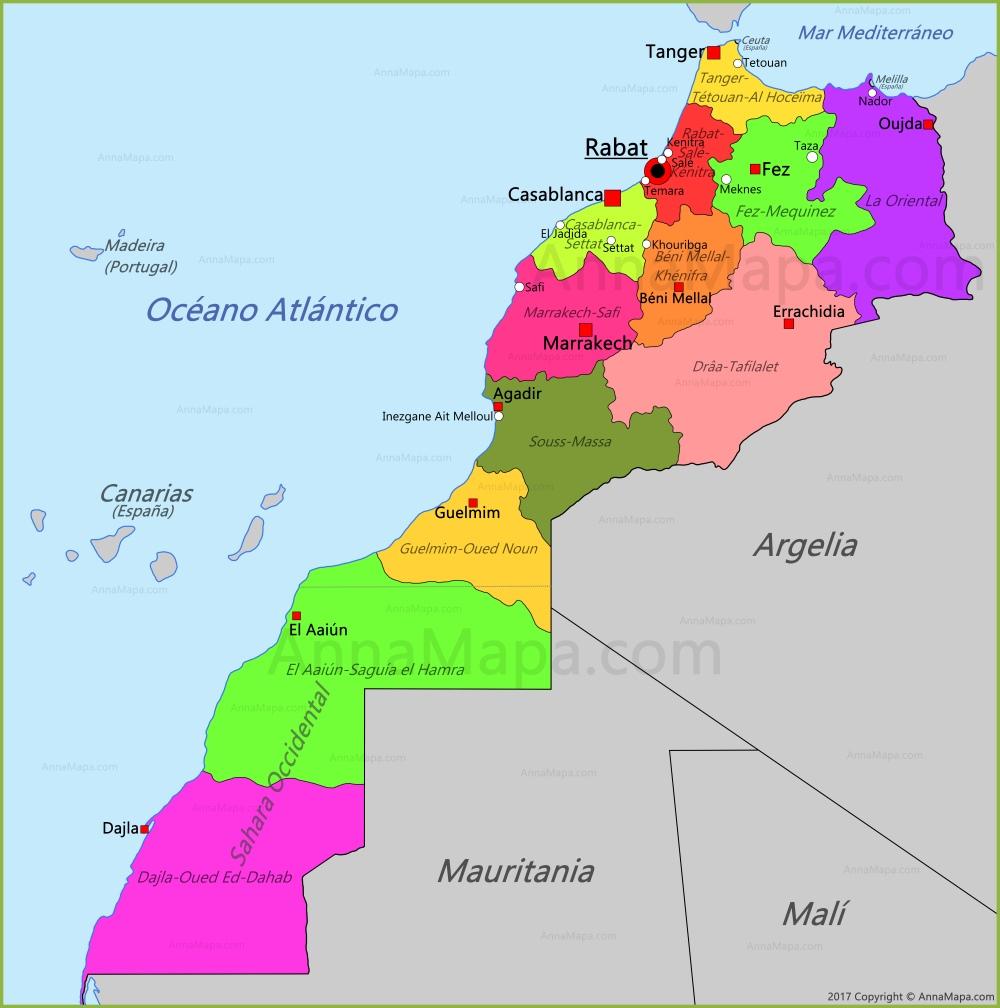 Mapa De Marruecos Ciudades.Mapa De Marruecos Annamapa Com