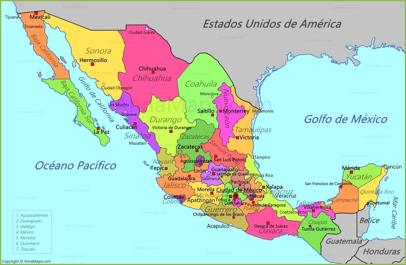 Mapa De México AnnaMapacom - Mapa de mexico