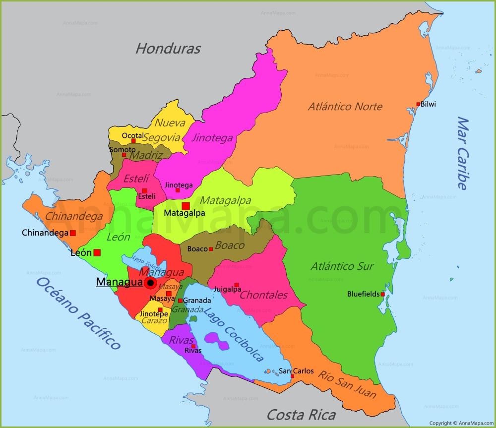 nicaragua mapa Mapa de Nicaragua   AnnaMapa.com nicaragua mapa