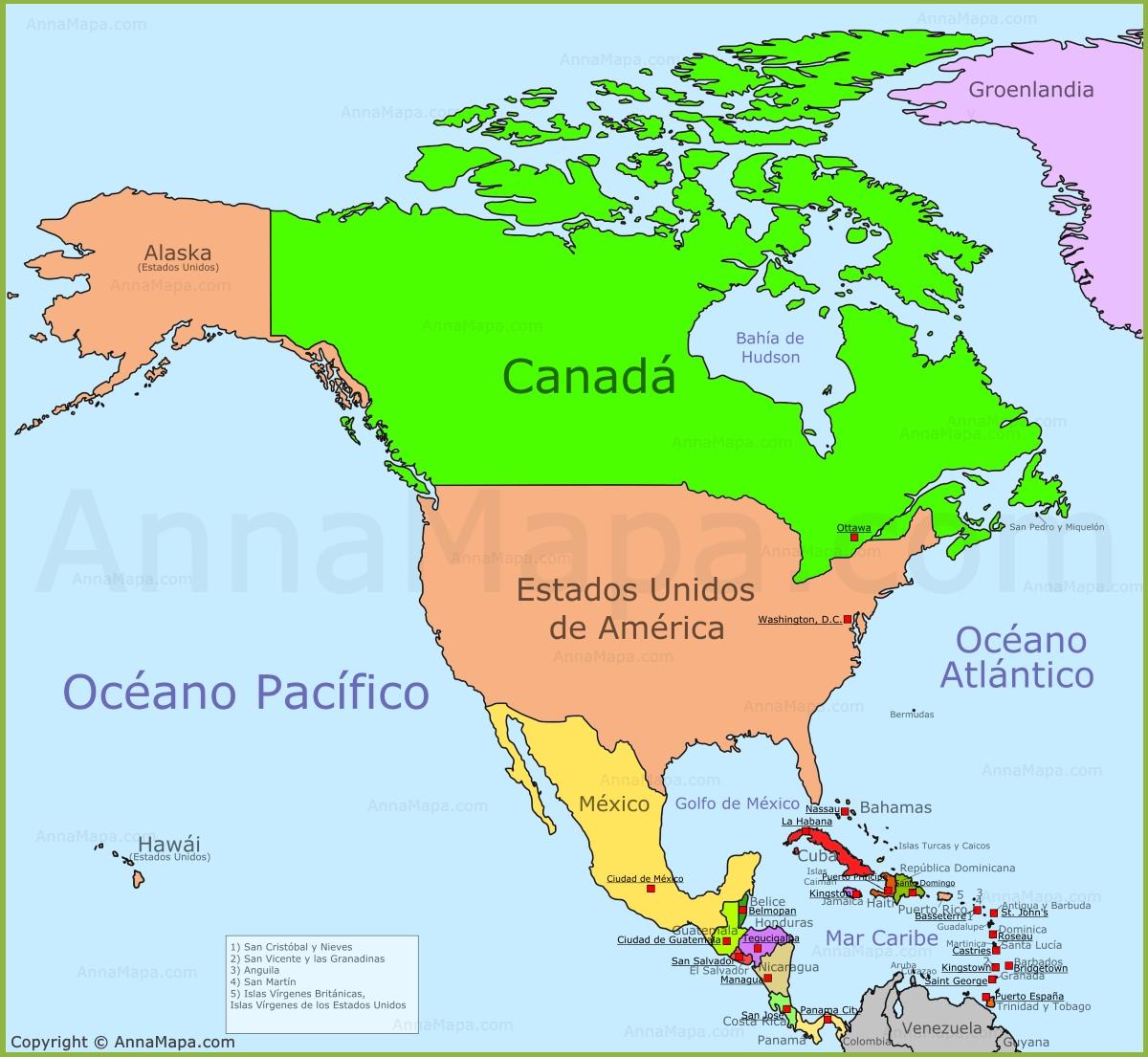 Mapa de Norteamrica  Mapa Politico de Norteamrica  Pases de