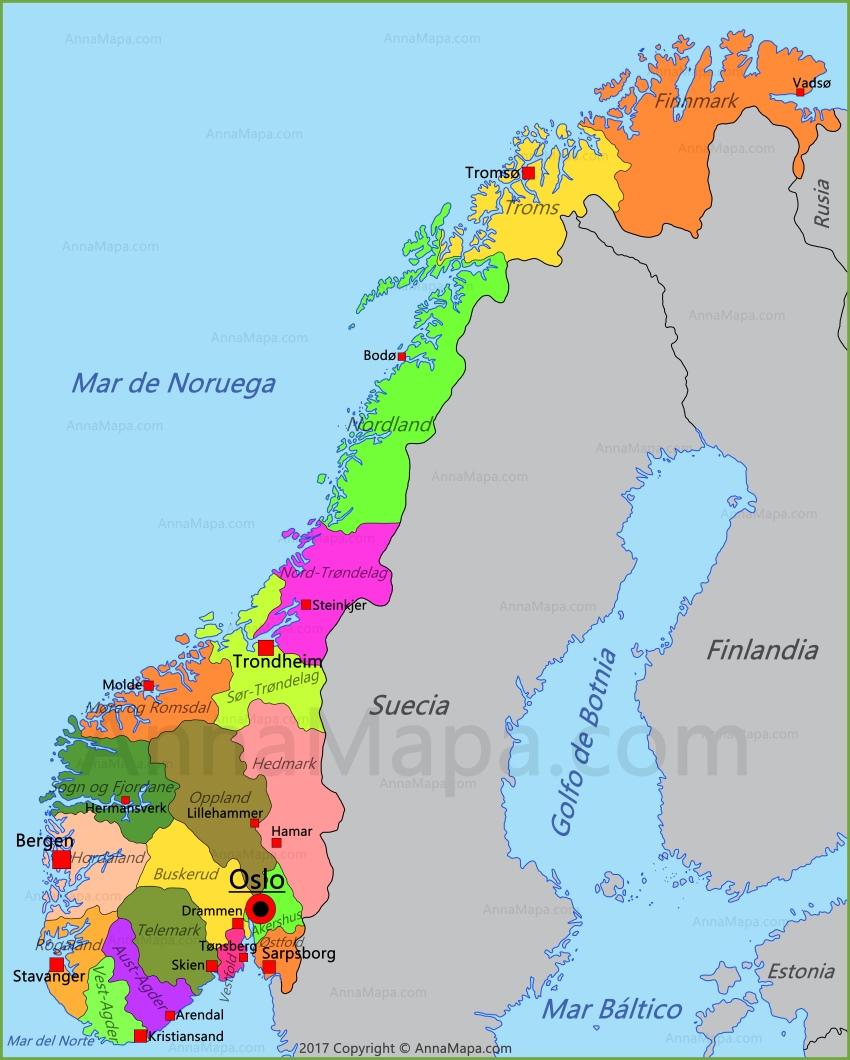 noruega mapa Mapa de Noruega   AnnaMapa.com noruega mapa