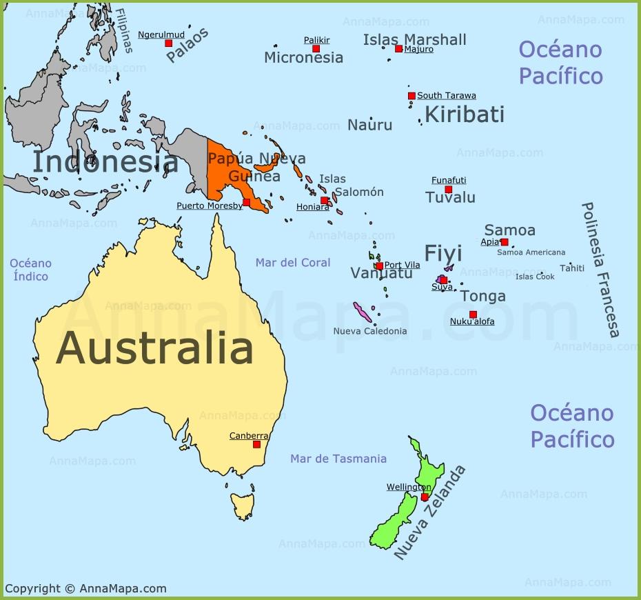 oceania mapa Mapa de Oceanía | Mapa Politico de Oceanía | Países de Oceanía  oceania mapa