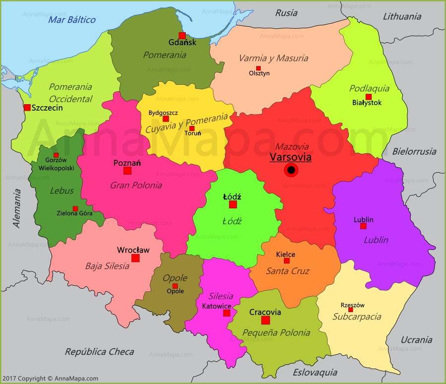 polonia mapa Mapa de Polonia   AnnaMapa.com polonia mapa