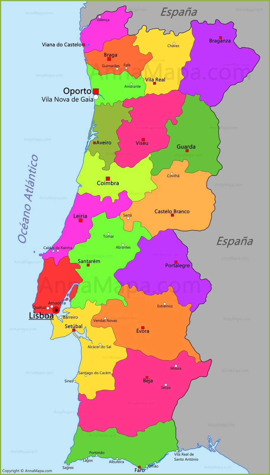 imagens do mapa de portugal Mapa de Portugal   AnnaMapa.com imagens do mapa de portugal