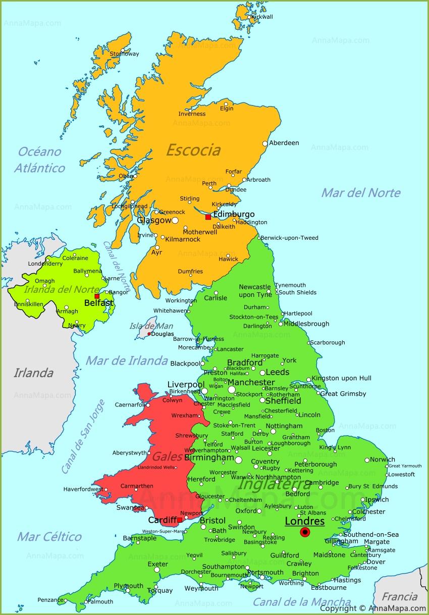 Mapa del Reino Unido | Plano Reino Unido   AnnaMapa.com