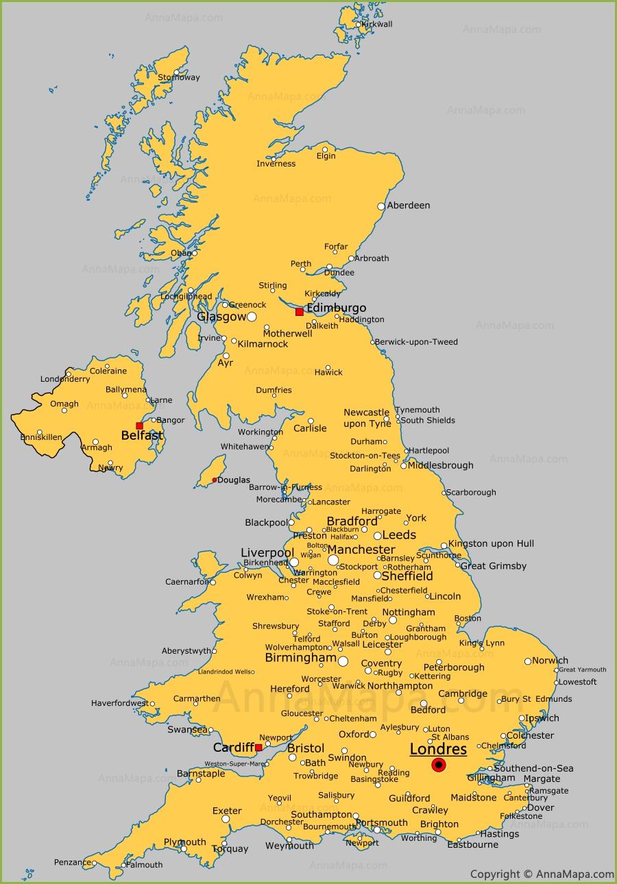 Mapa Del Reino Unido Con Las Ciudades Annamapa Com