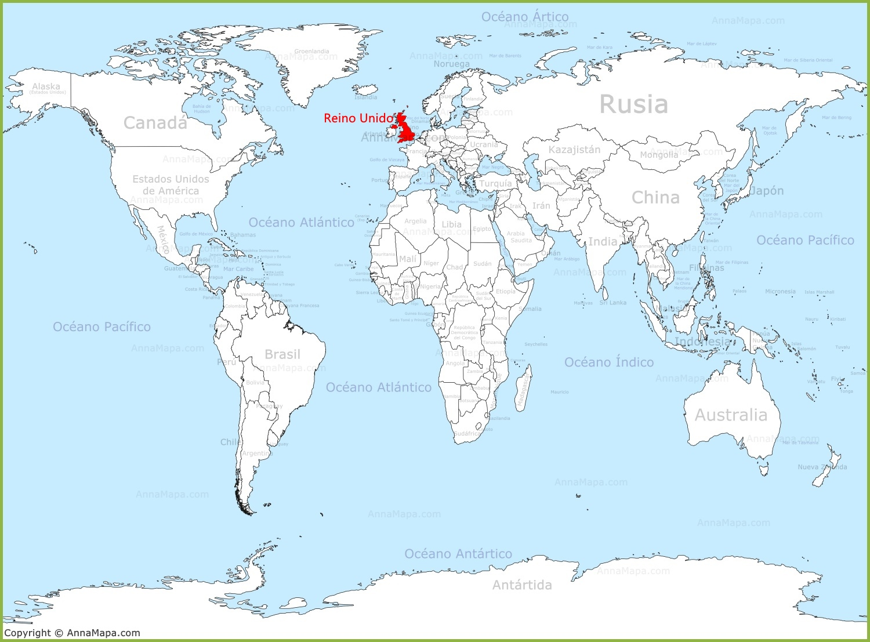 Reino Unido en el mapa del mundo   AnnaMapa.com