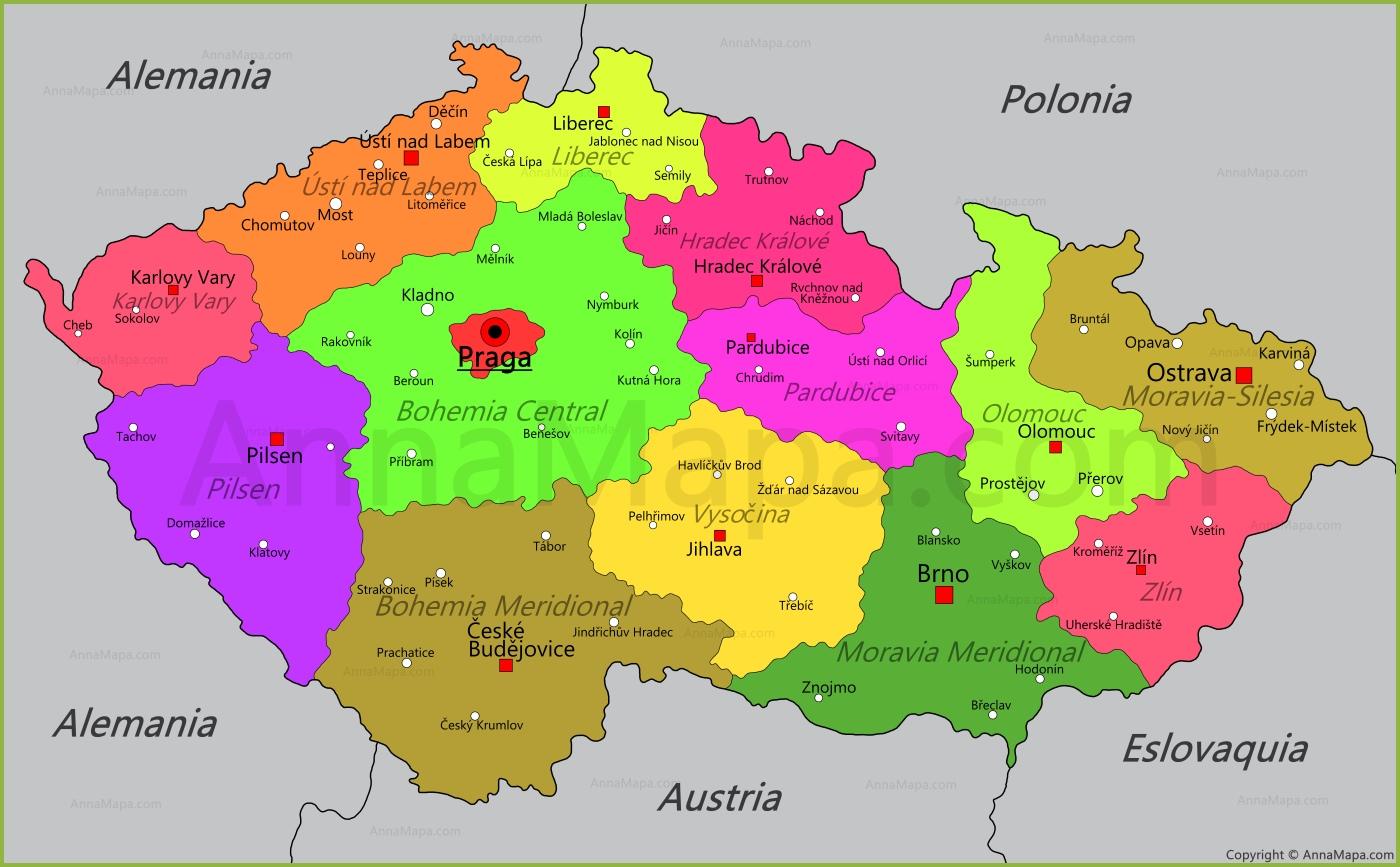 Mapa de Repblica Checa  AnnaMapacom