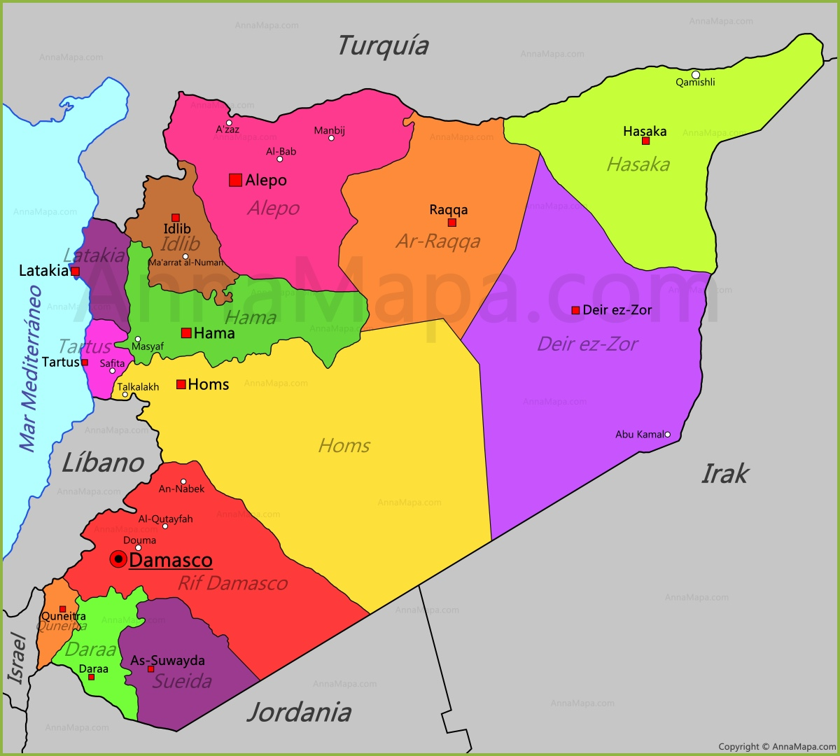 siria mapa Mapa de Siria   AnnaMapa.com siria mapa
