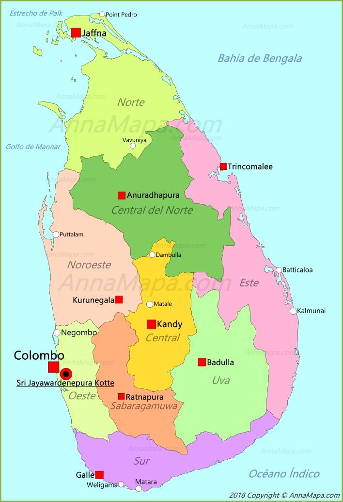 Mapa De Sri Lanka.Mapa De Sri Lanka Annamapa Com