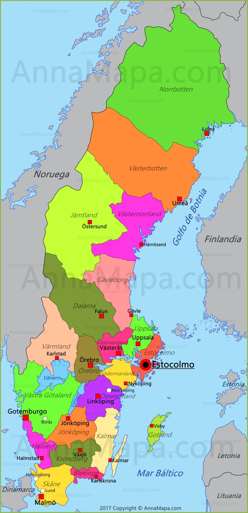suecia mapa Mapa de Suecia   AnnaMapa.com suecia mapa