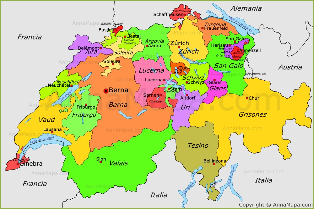 Mapa Politico De Suiza  My blog