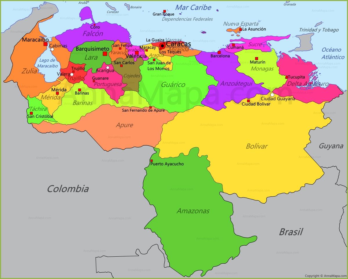 venezuela mapa Mapa de Venezuela   AnnaMapa.com venezuela mapa